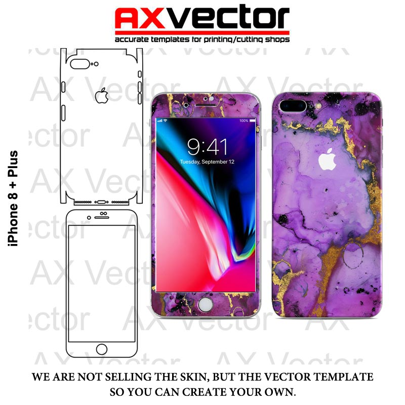 iphone 8 plus vector template accurate contour cut for skins or decals
