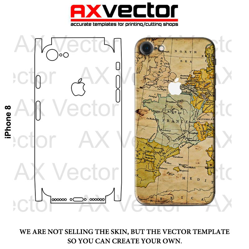 Iphone 8 Vector Template Accurate Contour Cut For Skins